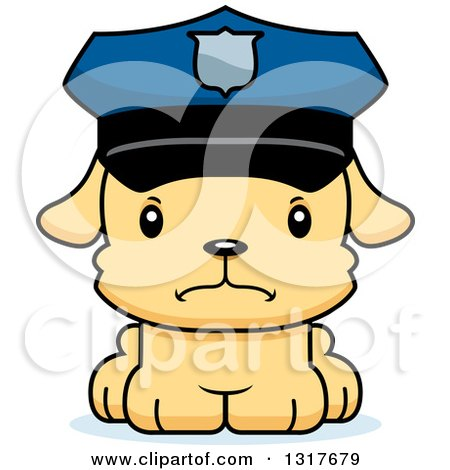 Animal Clipart of a Cartoon Cute Mad Puppy Dog Police Officer - Royalty Free Vector Illustration by Cory Thoman