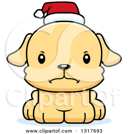 Animal Clipart Of A Cartoon Cute Mad Christmas Puppy Dog Wearing A