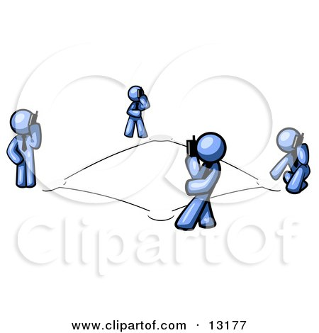 Wireless Telephone Network of Blue Men Talking on Cell Phones Posters, Art Prints