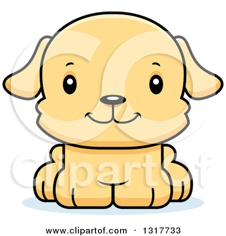 Animal Clipart of a Cartoon Cute Happy Puppy Dog - Royalty Free Vector Illustration by Cory Thoman