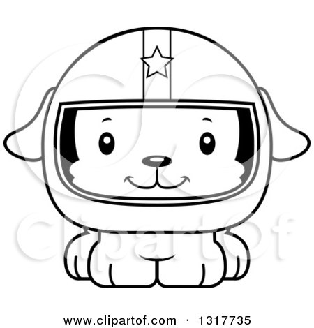 Animal Lineart Clipart of a Cartoon Black and WhiteCute Happy Puppy Dog Race Car Driver - Royalty Free Outline Vector Illustration by Cory Thoman