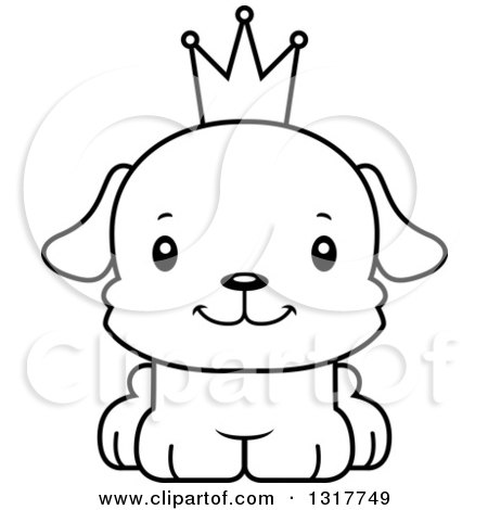 Cartoon Black And White Cute Happy Puppy Dog Prince 1317749 on how to draw cartoon flowers
