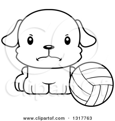 Animal Lineart Clipart Of A Cartoon Black And Whitecute Mad Puppy