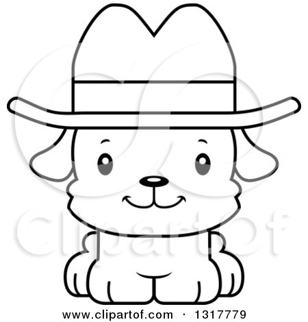 Animal Lineart Clipart of a Cartoon Black and WhiteCute Happy Puppy Dog Cowboy - Royalty Free Outline Vector Illustration by Cory Thoman