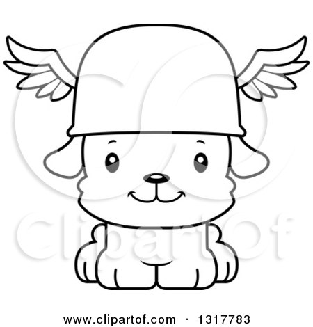 Animal Lineart Clipart of a Cartoon Black and WhiteCute Happy Puppy Dog Hermes - Royalty Free Outline Vector Illustration by Cory Thoman