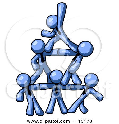 Group of Blue Businessmen Piling up to Form a Pyramid Clipart Illustration by Leo Blanchette