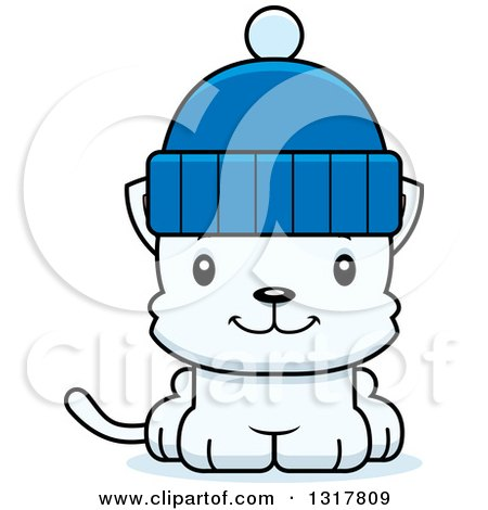 Animal Clipart of a Cartoon Cute Happy White Kitten Cat Wearing a Winter Hat - Royalty Free Vector Illustration by Cory Thoman