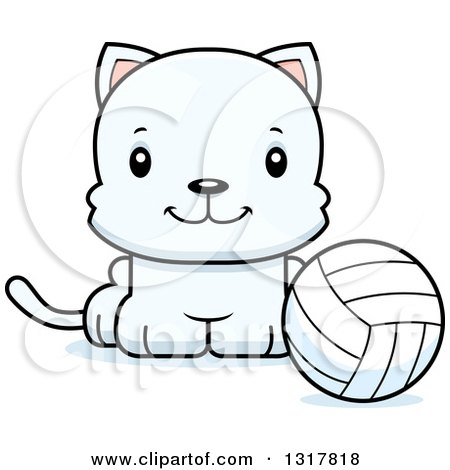 Animal Clipart of a Cartoon Cute Happy White Kitten Cat Sitting by a Volleyball - Royalty Free Vector Illustration by Cory Thoman