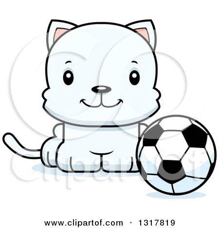 Animal Clipart of a Cartoon Cute Happy White Kitten Cat Sitting by a Soccer Ball - Royalty Free Vector Illustration by Cory Thoman