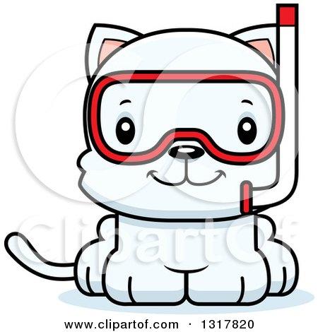 Animal Clipart of a Cartoon Cute Happy White Kitten Cat Wearing ...