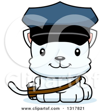 Animal Clipart of a Cartoon Cute Happy White Kitten Cat Mailman - Royalty Free Vector Illustration by Cory Thoman