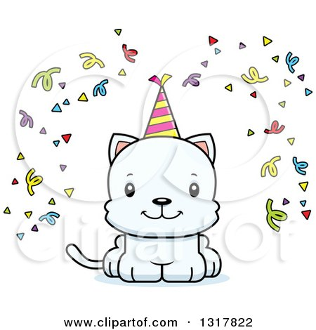 Animal Clipart of a Cartoon Cute Happy White Party Kitten Cat - Royalty Free Vector Illustration by Cory Thoman