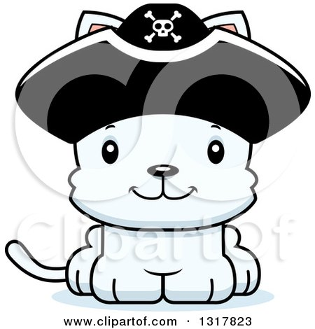 Animal Clipart of a Cartoon Cute Happy White Kitten Cat Pirate Captain - Royalty Free Vector Illustration by Cory Thoman