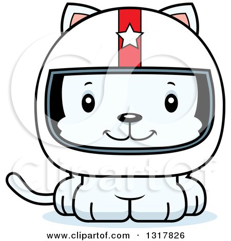 Animal Clipart of a Cartoon Cute Happy White Kitten Cat Race Car Driver - Royalty Free Vector Illustration by Cory Thoman
