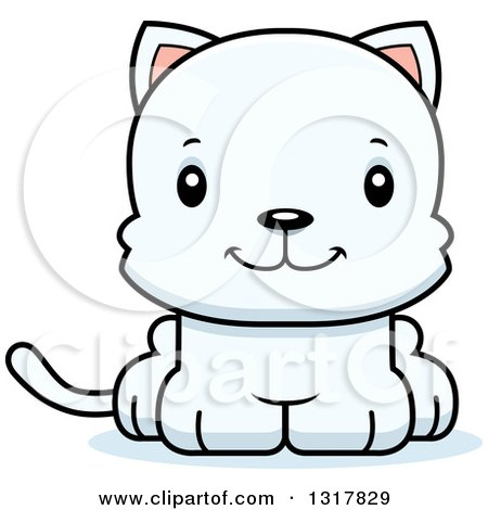 Animal Clipart of a Cartoon Cute Happy White Kitten Cat - Royalty Free Vector Illustration by Cory Thoman