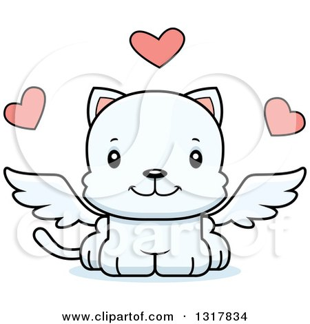 Animal Clipart of a Cartoon Cute Happy White Kitten Cat Cupid - Royalty Free Vector Illustration by Cory Thoman