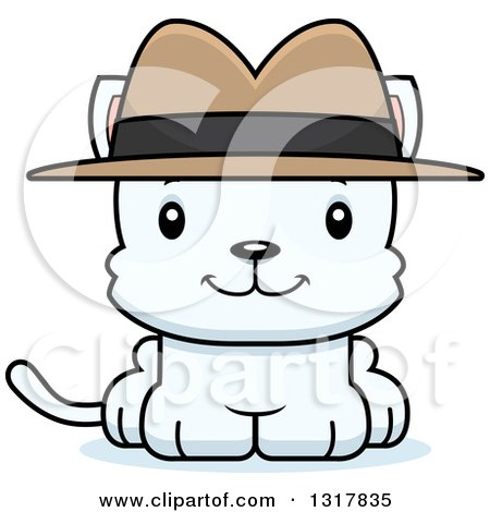 Animal Clipart of a Cartoon Cute Happy White Kitten Cat Detective - Royalty Free Vector Illustration by Cory Thoman