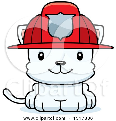 Animal Clipart of a Cartoon Cute Happy White Kitten Cat Fireman - Royalty Free Vector Illustration by Cory Thoman