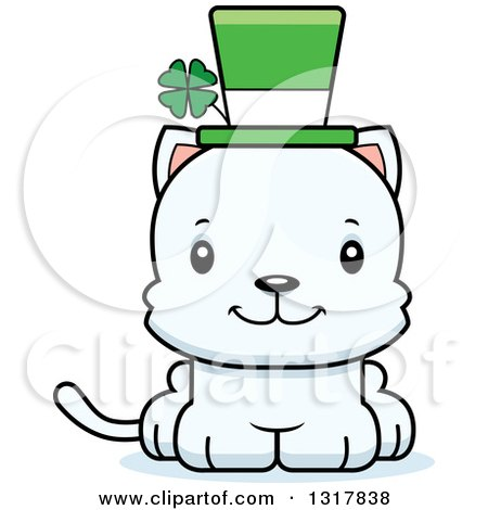 Animal Clipart of a Cartoon Cute Happy Irish St Patricks Day White Kitten Cat - Royalty Free Vector Illustration by Cory Thoman