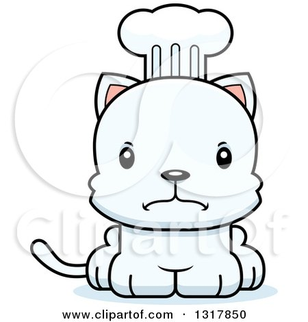 Animal Clipart of a Cartoon Cute Mad White Kitten Cat Chef - Royalty Free Vector Illustration by Cory Thoman