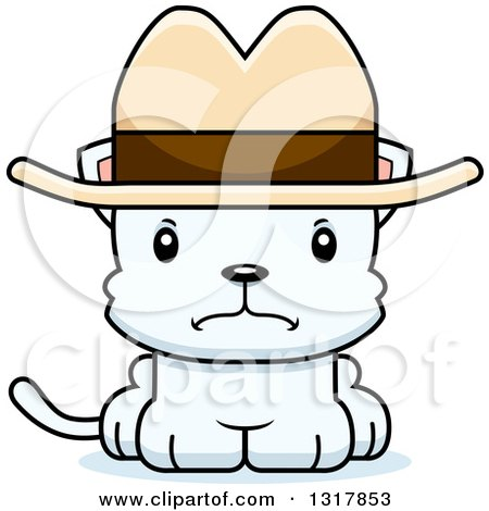 Animal Clipart of a Cartoon Cute Mad White Kitten Cat Cowboy - Royalty Free Vector Illustration by Cory Thoman
