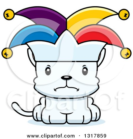 Animal Clipart of a Cartoon Cute Mad White Kitten Cat Joker - Royalty Free Vector Illustration by Cory Thoman
