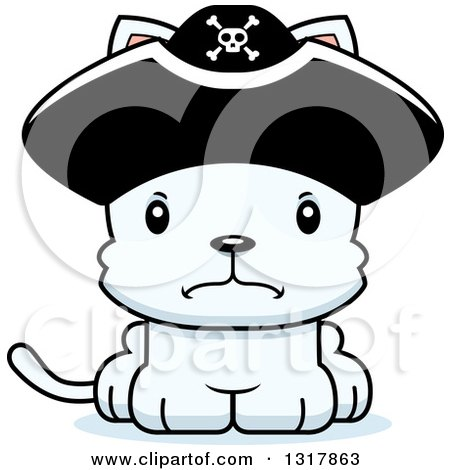 Animal Clipart of a Cartoon Cute Mad White Kitten Cat Pirate Captain - Royalty Free Vector Illustration by Cory Thoman
