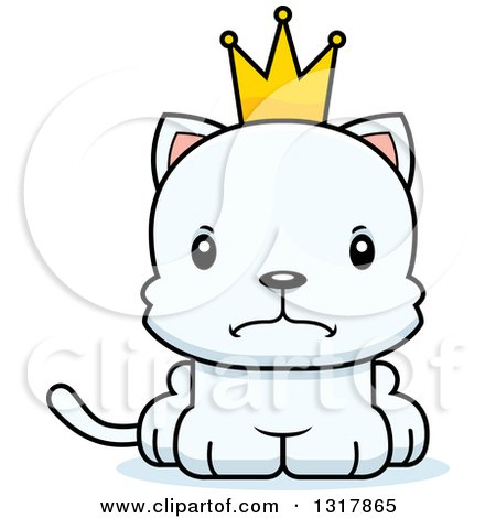 Animal Clipart of a Cartoon Cute Mad White Kitten Cat Prince - Royalty Free Vector Illustration by Cory Thoman