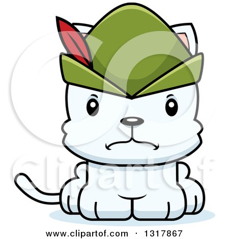 Animal Clipart of a Cartoon Cute Mad White Robin Hood Kitten Cat - Royalty Free Vector Illustration by Cory Thoman