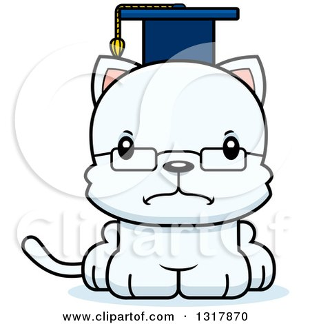 Animal Clipart of a Cartoon Cute Mad White Kitten Cat Professor - Royalty Free Vector Illustration by Cory Thoman