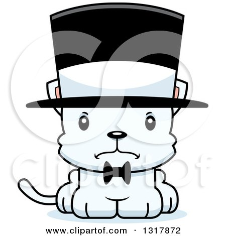 Animal Clipart of a Cartoon Cute Mad White Kitten Cat Gentleman Wearing a Top Hat - Royalty Free Vector Illustration by Cory Thoman