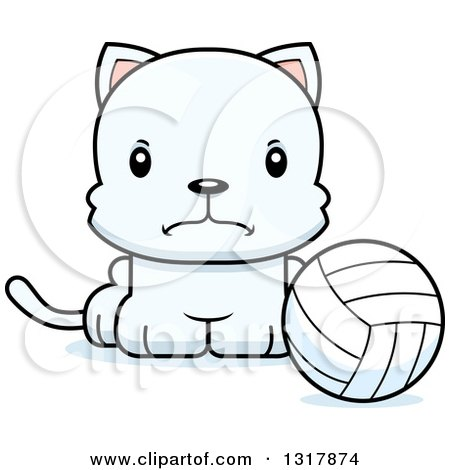 Animal Clipart of a Cartoon Cute Mad White Kitten Cat Sitting by a Volleyball - Royalty Free Vector Illustration by Cory Thoman