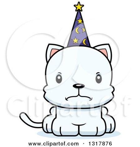 Animal Clipart of a Cartoon Cute Mad White Kitten Cat Wizard - Royalty Free Vector Illustration by Cory Thoman
