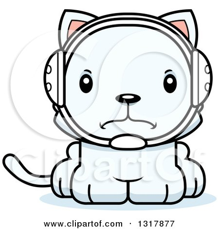 Animal Clipart of a Cartoon Cute Mad White Kitten Cat Wrestler - Royalty Free Vector Illustration by Cory Thoman
