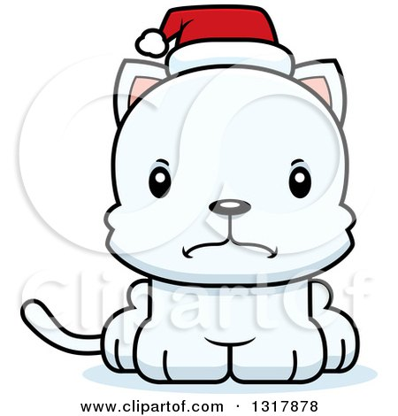 Animal Clipart of a Cartoon Cute Mad White Christmas Kitten Cat Wearing a Santa Hat - Royalty Free Vector Illustration by Cory Thoman
