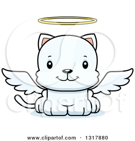 Animal Clipart of a Cartoon Cute Happy White Kitten Cat Angel - Royalty Free Vector Illustration by Cory Thoman