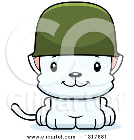 Animal Clipart of a Cartoon Cute Happy White Kitten Cat Army Soldier - Royalty Free Vector Illustration by Cory Thoman
