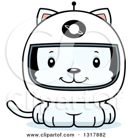 Animal Clipart of a Cartoon Cute Happy White Kitten Cat Astronaut - Royalty Free Vector Illustration by Cory Thoman
