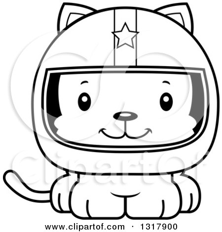Animal Lineart Clipart of a Cartoon Black and White Cute Happy Kitten Cat Race Car Driver - Royalty Free Outline Vector Illustration by Cory Thoman