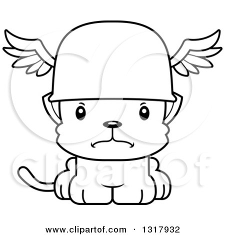 Animal Lineart Clipart of a Cartoon Black and White Cute Mad Kitten Cat Hermes - Royalty Free Outline Vector Illustration by Cory Thoman