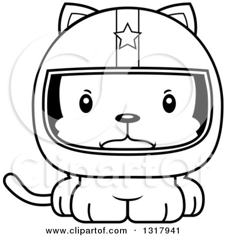 Animal Lineart Clipart of a Cartoon Black and White Cute Mad Kitten Cat Race Car Driver - Royalty Free Outline Vector Illustration by Cory Thoman