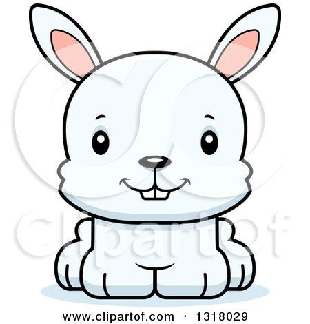 Animal Clipart of a Cartoon Cute Happy White Rabbit - Royalty Free Vector Illustration by Cory Thoman