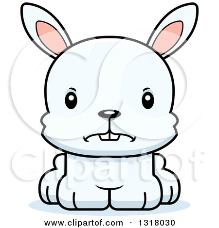 Animal Clipart of a Cartoon Cute Mad White Rabbit - Royalty Free Vector Illustration by Cory Thoman