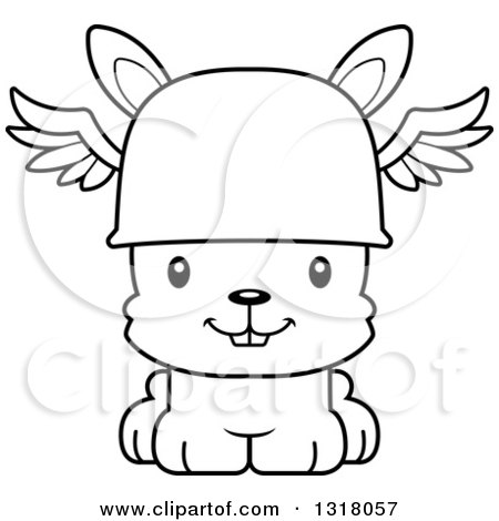 Animal Lineart Clipart of a Cartoon Black and White Cute Happy Rabbit Hermes - Royalty Free Outline Vector Illustration by Cory Thoman