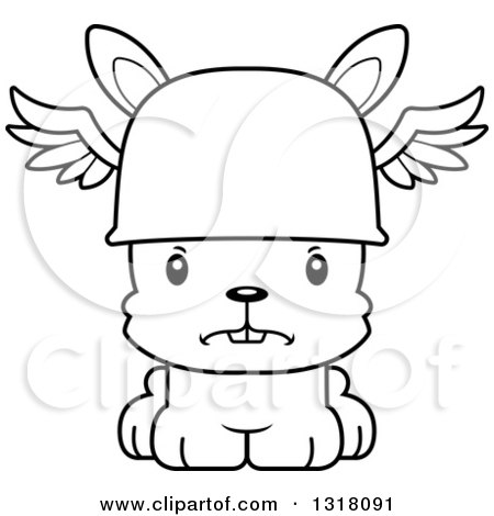 Animal Lineart Clipart of a Cartoon Black and White Cute Mad Rabbit Hermes - Royalty Free Outline Vector Illustration by Cory Thoman