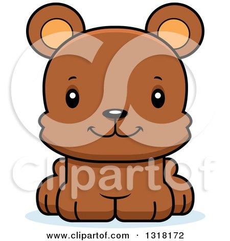 Animal Clipart of a Cartoon Cute Happy Bear Cub - Royalty Free Vector Illustration by Cory Thoman