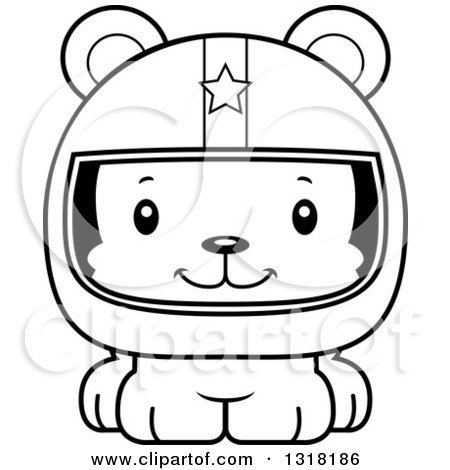 Animal Lineart Clipart of a Cartoon Black and White Cute Happy Bear Cub Car Racer - Royalty Free Outline Vector Illustration by Cory Thoman