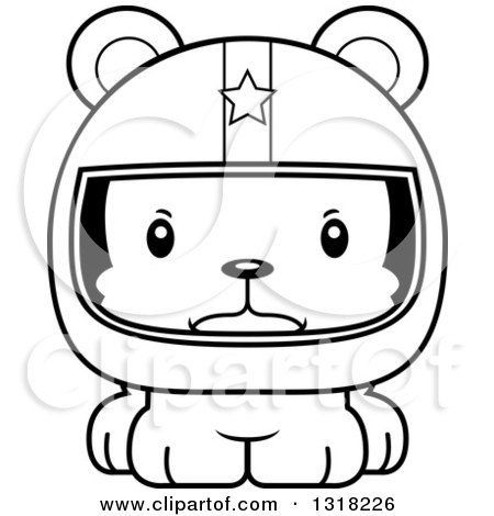 Animal Lineart Clipart of a Cartoon Black and White Cute Mad Bear Cub Car Racer - Royalty Free Outline Vector Illustration by Cory Thoman