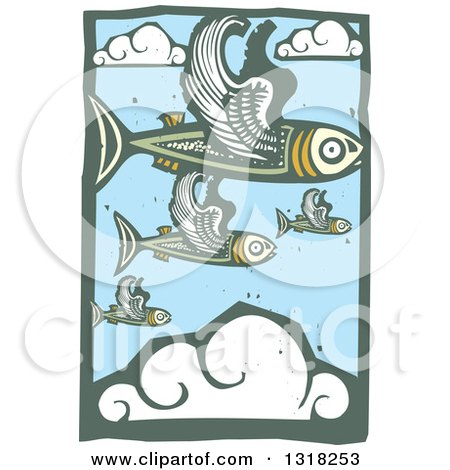 Clipart of Woodcut Flying Fish in a Blue Sky with Clouds - Royalty Free Vector Illustration by xunantunich