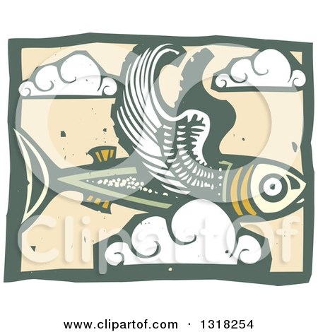 Clipart of a Woodcut Flying Fish in the Sky with Clouds - Royalty Free Vector Illustration by xunantunich